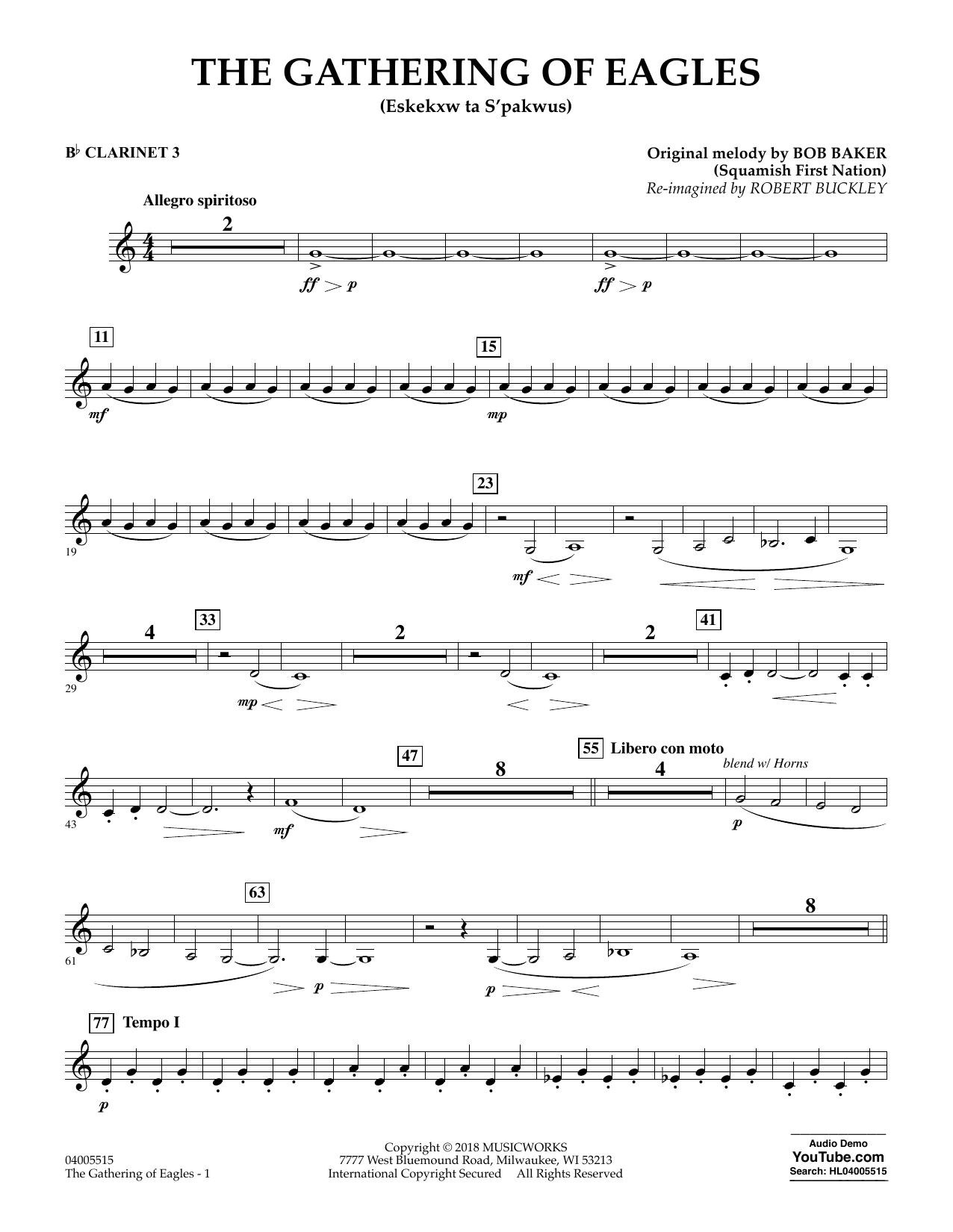 Robert Buckley The Gathering of Eagles - Bb Clarinet 3 sheet music notes and chords. Download Printable PDF.
