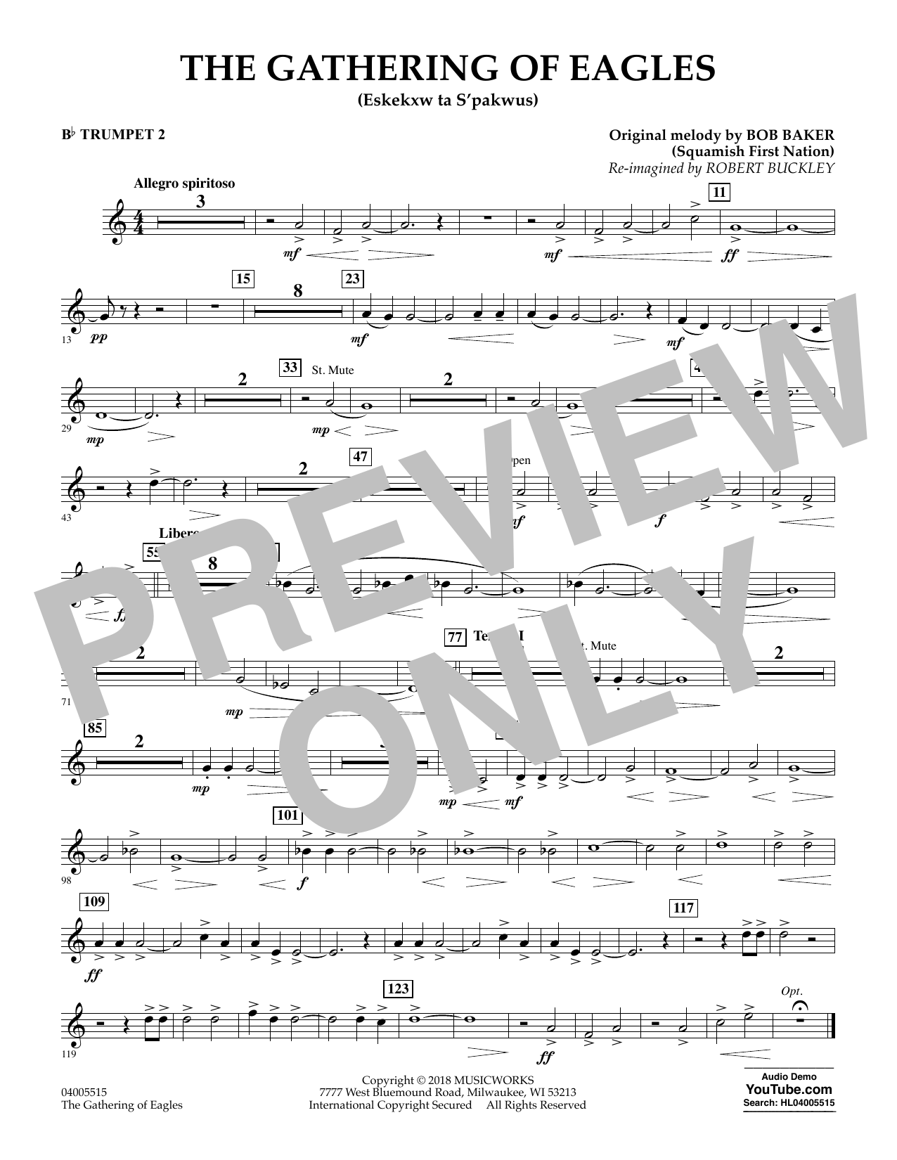 Robert Buckley The Gathering of Eagles - Bb Trumpet 2 sheet music notes and chords. Download Printable PDF.