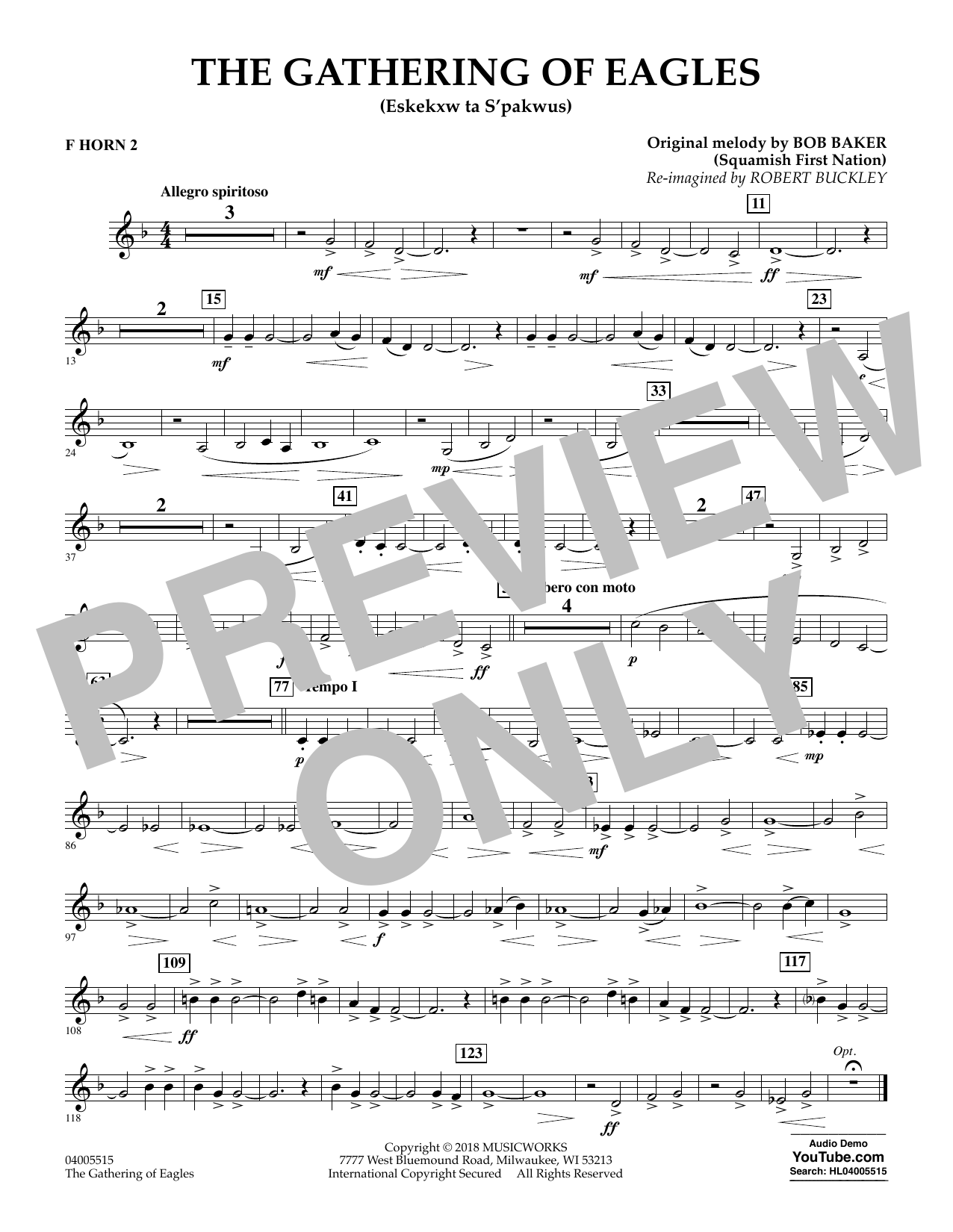 Robert Buckley The Gathering of Eagles - F Horn 2 sheet music notes and chords. Download Printable PDF.
