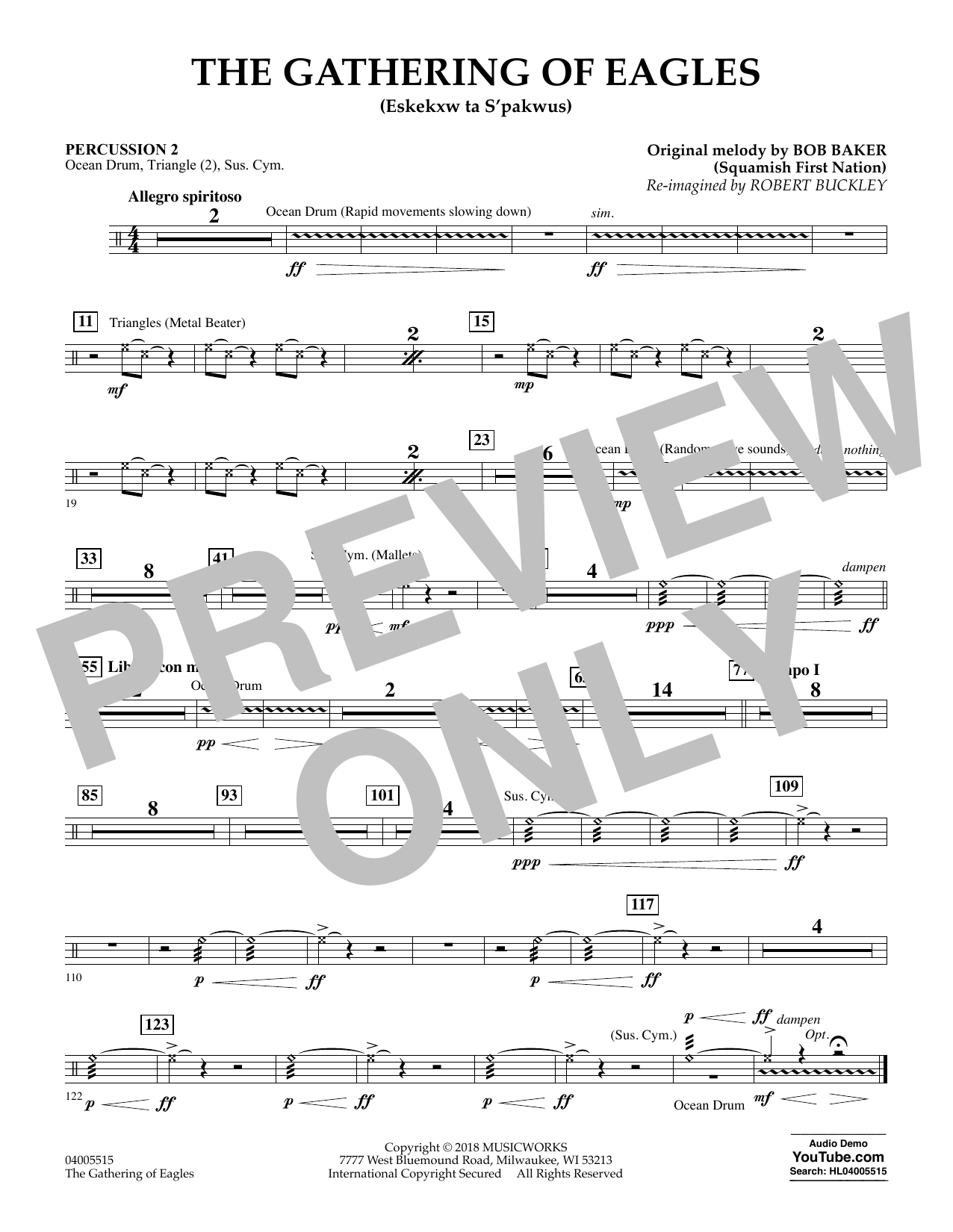 Robert Buckley The Gathering of Eagles - Percussion 2 sheet music notes and chords. Download Printable PDF.