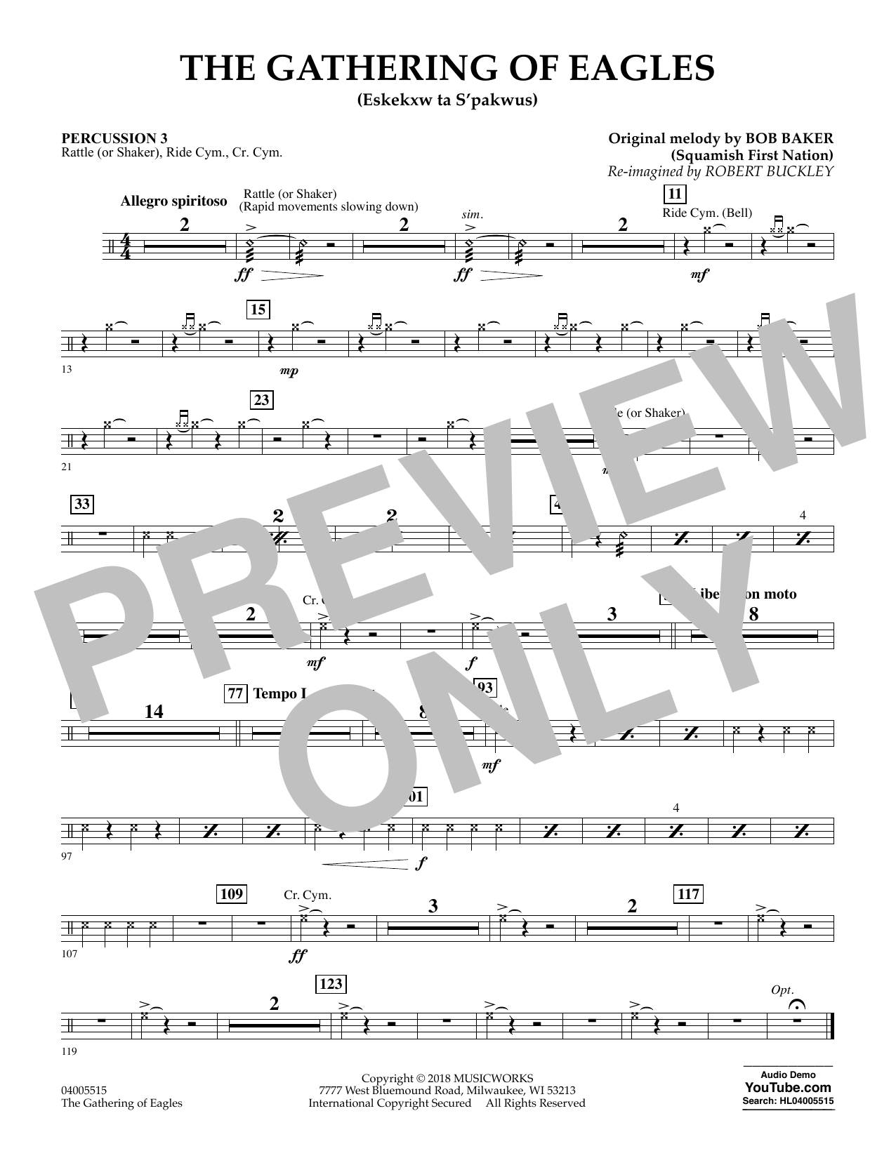 Robert Buckley The Gathering of Eagles - Percussion 3 sheet music notes and chords. Download Printable PDF.