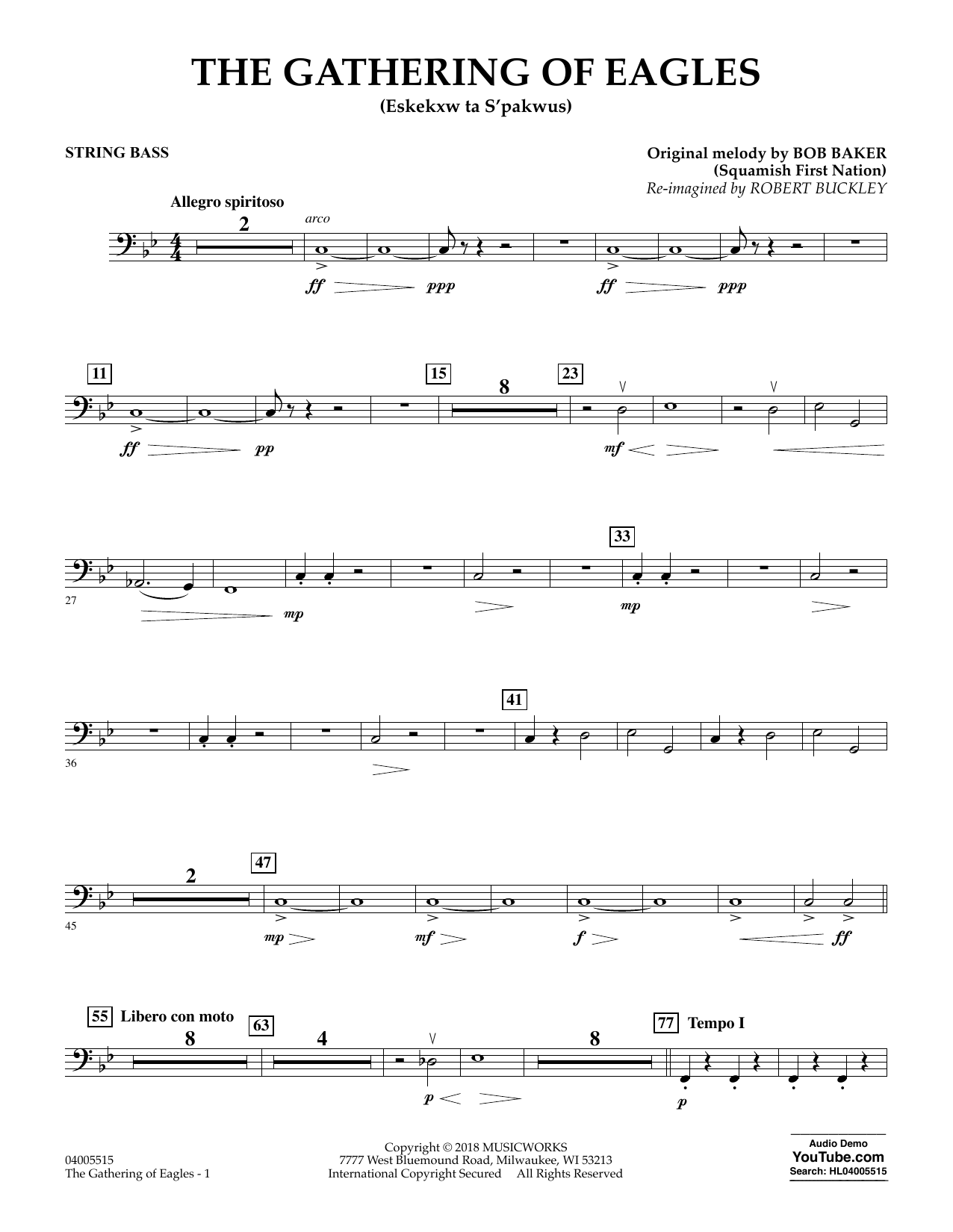 Robert Buckley The Gathering of Eagles - String Bass sheet music notes and chords. Download Printable PDF.