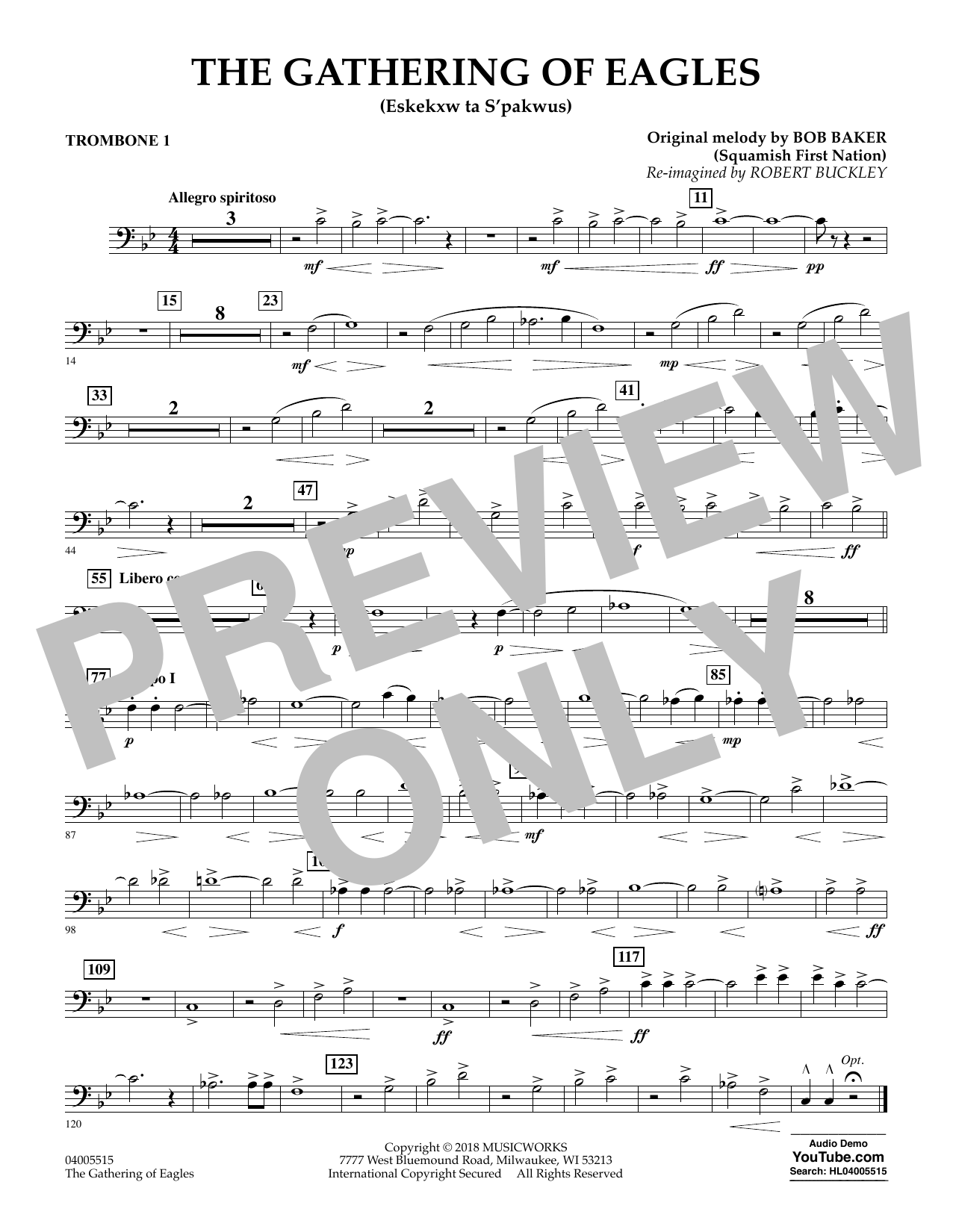 Robert Buckley The Gathering of Eagles - Trombone 1 sheet music notes and chords. Download Printable PDF.
