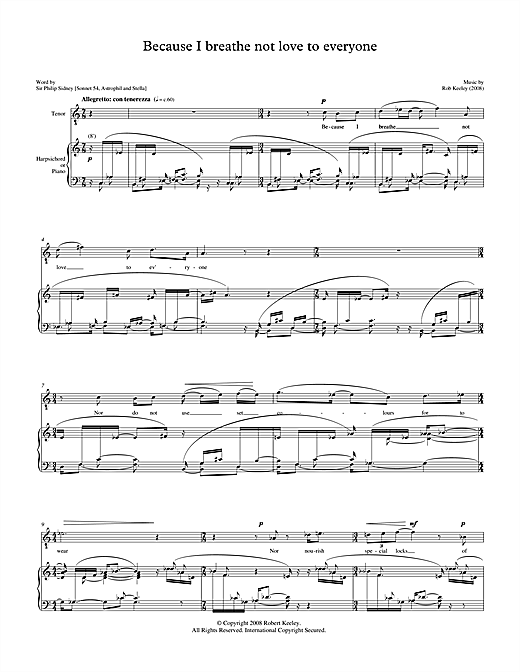 Robert Keeley Because I breathe not love to everyone (for tenor & harpsichord) sheet music notes printable PDF score