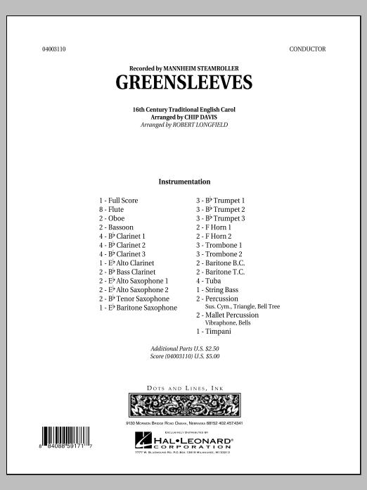Robert Longfield Greensleeves - Full Score sheet music notes printable PDF score