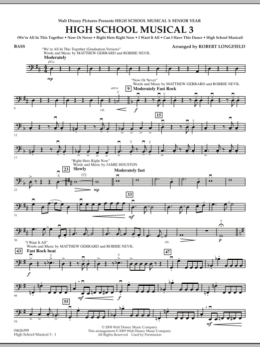 Robert Longfield High School Musical 3 - Bass sheet music notes and chords. Download Printable PDF.