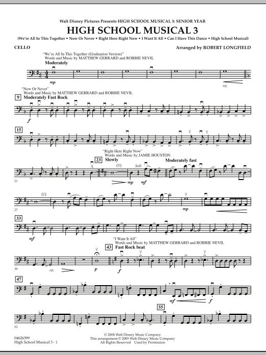 Robert Longfield High School Musical 3 - Cello sheet music notes and chords. Download Printable PDF.