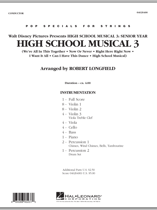 Robert Longfield High School Musical 3 - Full Score sheet music notes and chords. Download Printable PDF.
