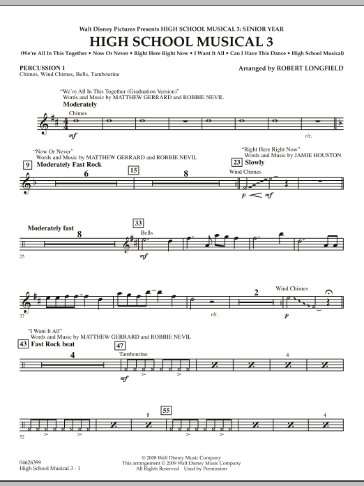 Robert Longfield High School Musical 3 - Percussion 1 sheet music notes and chords. Download Printable PDF.