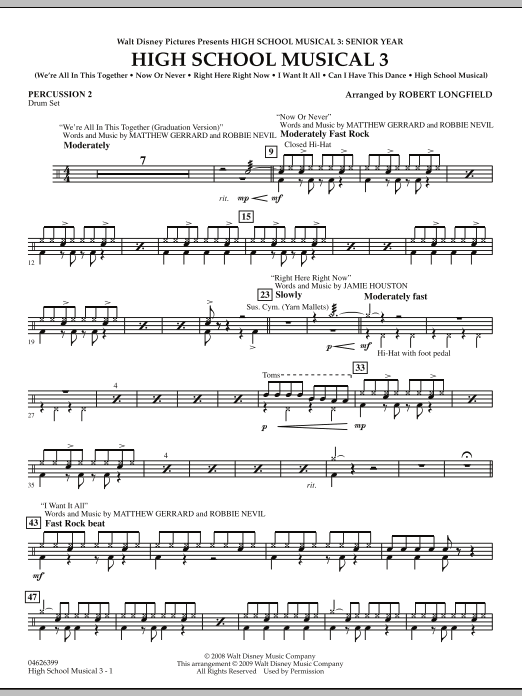 Robert Longfield High School Musical 3 - Percussion 2 sheet music notes and chords. Download Printable PDF.