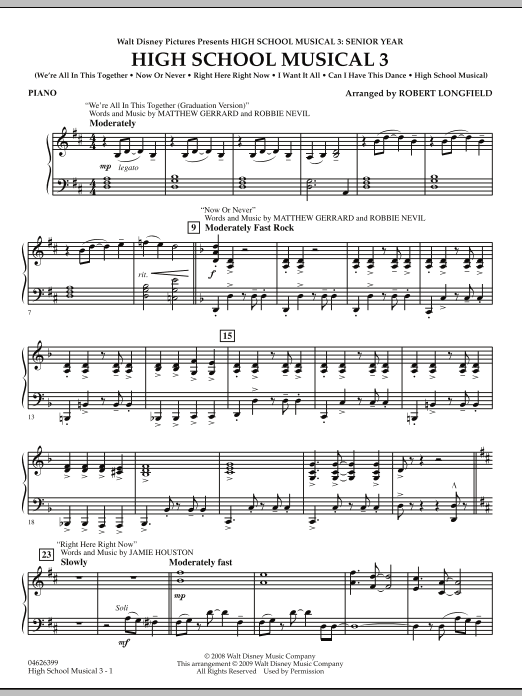 Robert Longfield High School Musical 3 - Piano sheet music notes and chords. Download Printable PDF.