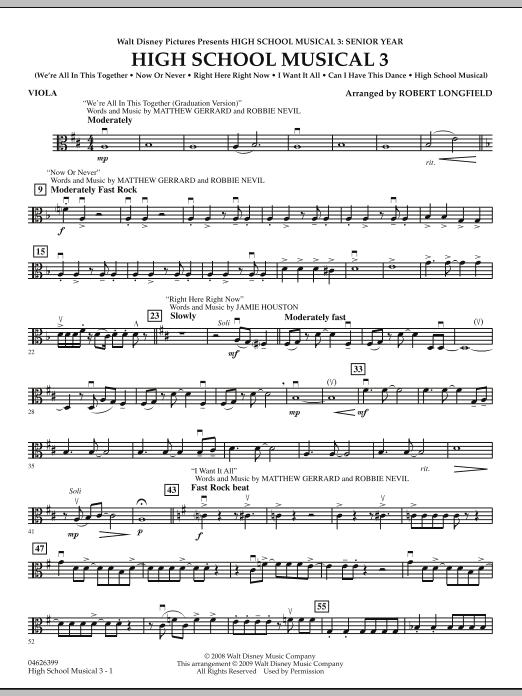 Robert Longfield High School Musical 3 - Viola sheet music notes and chords. Download Printable PDF.