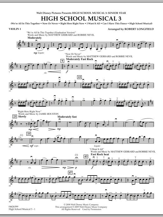 Robert Longfield High School Musical 3 - Violin 1 sheet music notes and chords. Download Printable PDF.