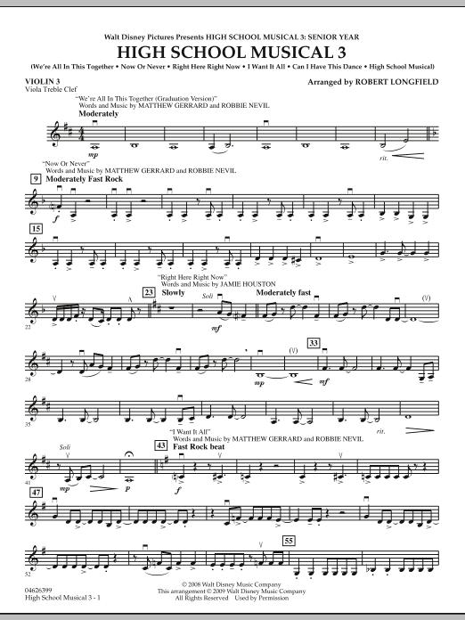 Robert Longfield High School Musical 3 - Violin 3 (Viola Treble Clef) sheet music notes and chords. Download Printable PDF.