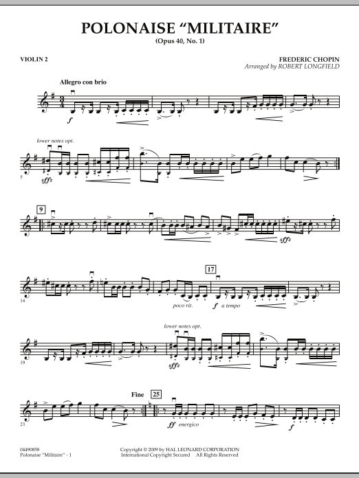 Robert Longfield Polonaise Militaire - Violin 2 sheet music notes and chords. Download Printable PDF.