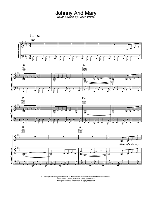 Robert Palmer Johnny And Mary sheet music notes printable PDF score