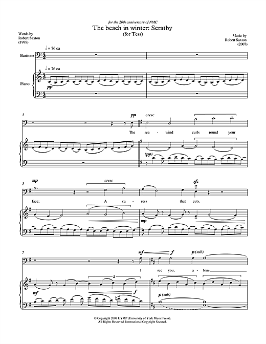 Robert Saxton The beach in winter: Scratby (for baritone & piano) sheet music notes printable PDF score