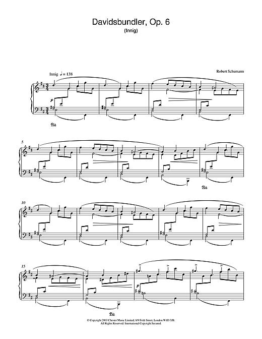 Robert Schumann Davidsbundler, Op. 6 (Innig) sheet music notes and chords. Download Printable PDF.