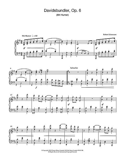 Robert Schumann Davidsbundler, Op. 6 (Mit Humor) sheet music notes printable PDF score