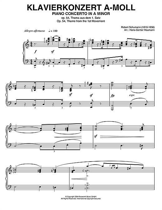 Robert Schumann Piano Concerto In A Minor, Op.54, theme from the 1st Movement sheet music notes printable PDF score