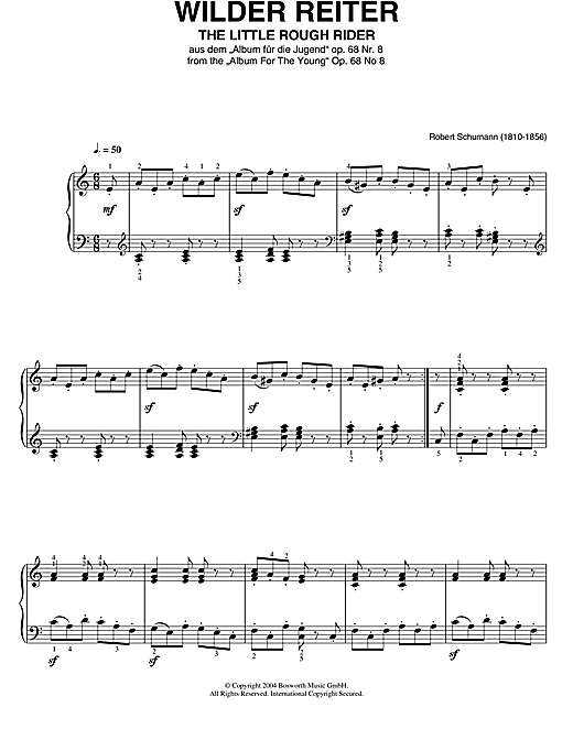 Robert Schumann The Little Rough Rider (From Album For The Young) sheet music notes printable PDF score