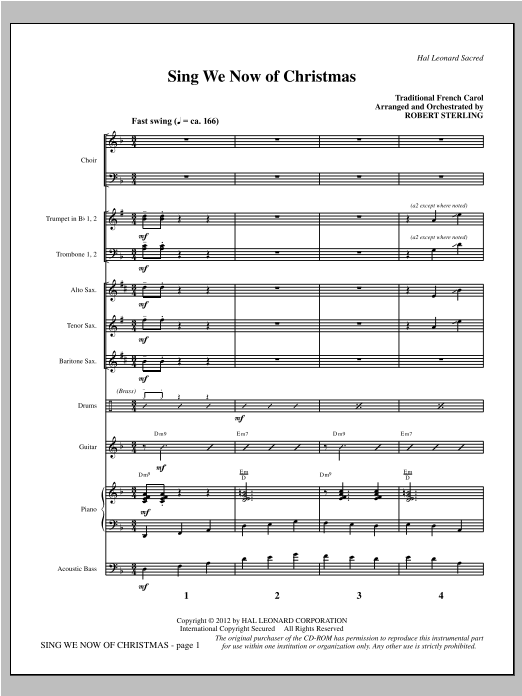Robert Sterling Sing We Now Of Christmas - Full Score sheet music notes printable PDF score