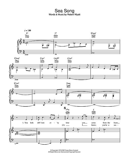Robert Wyatt Sea Song sheet music notes printable PDF score