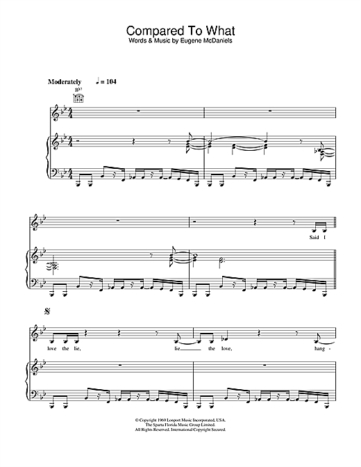 Roberta Flack Compared To What sheet music notes printable PDF score