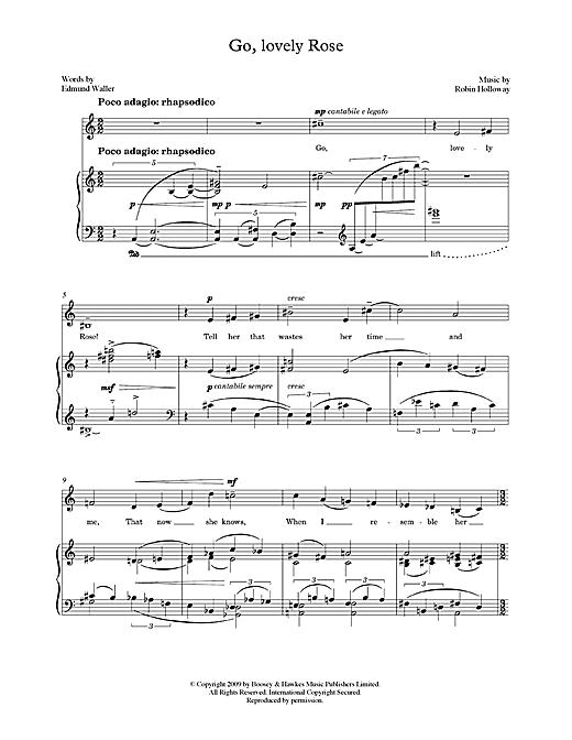 Robin Holloway Go, lovely Rose (for mezzo-soprano & piano) sheet music notes printable PDF score