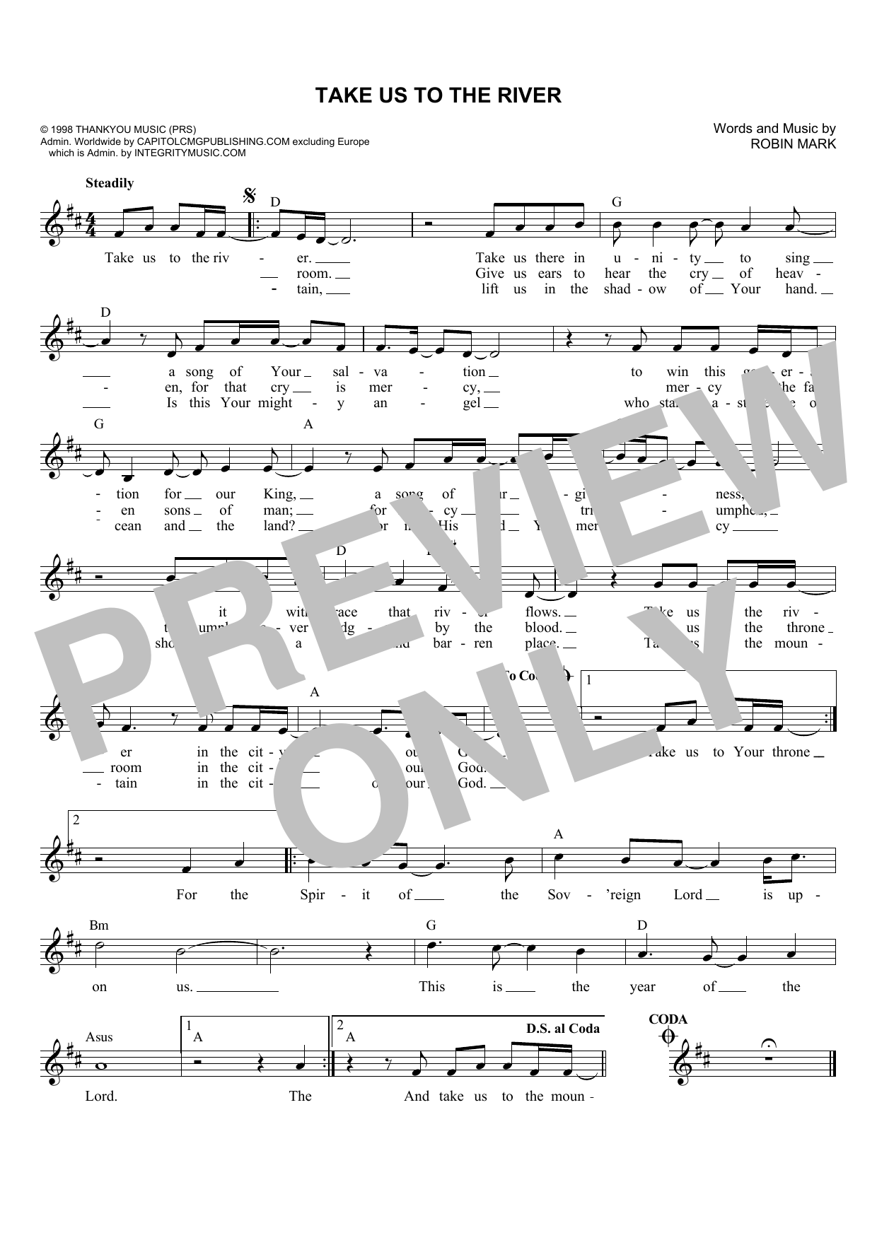 Robin Mark Take Us To The River sheet music notes and chords. Download Printable PDF.