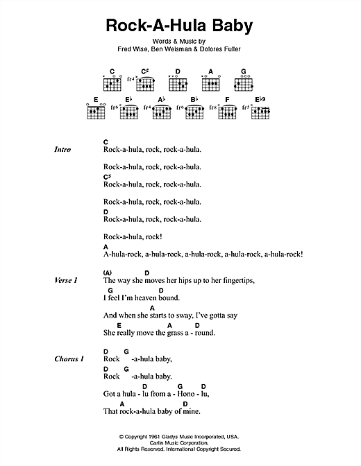 Elvis Presley Rock-A-Hula Baby sheet music notes printable PDF score