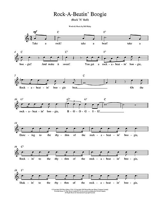 Bill Haley Rock A Beatin Boogie sheet music notes printable PDF score