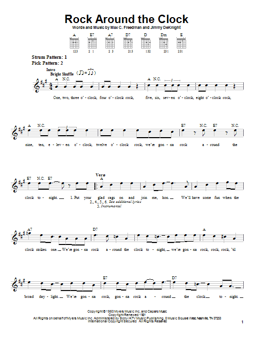 Bill Haley & His Comets Rock Around The Clock sheet music notes printable PDF score