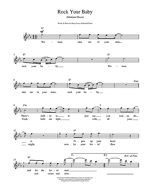Harry Casey And Richard Finch Rock Your Baby sheet music notes printable PDF score