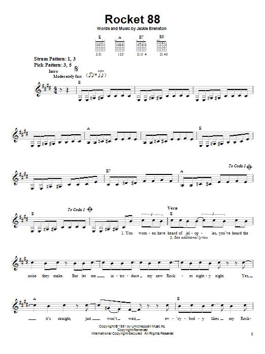 Jackie Brenston Rocket 88 sheet music notes printable PDF score