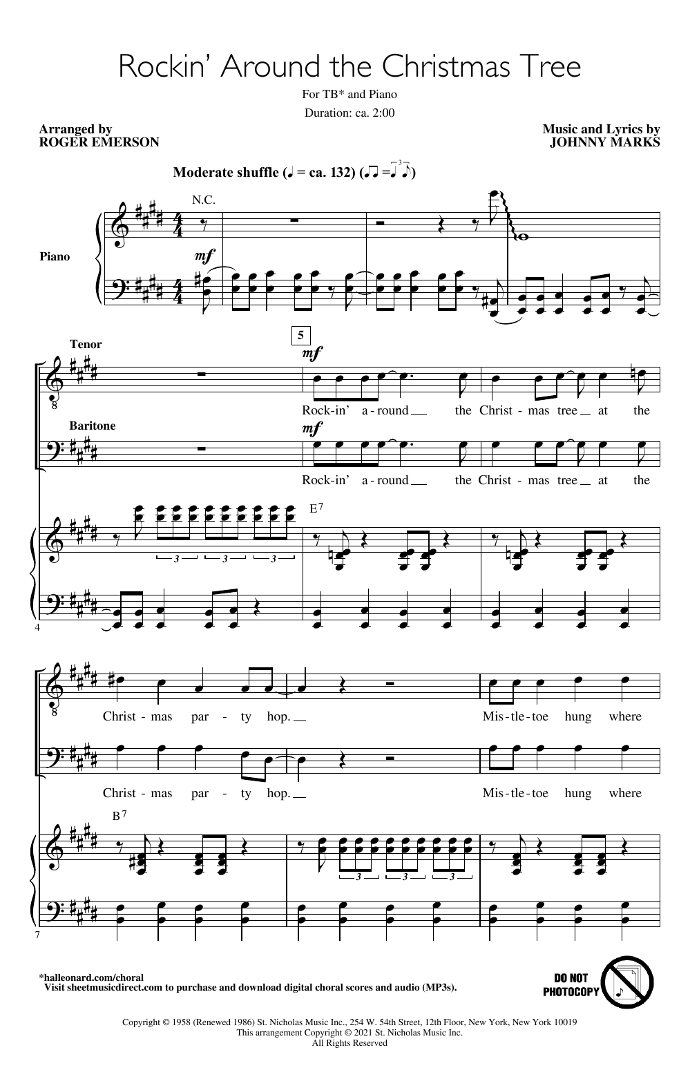 Johnny Marks Rockin' Around The Christmas Tree (arr. Roger Emerson) sheet music notes printable PDF score