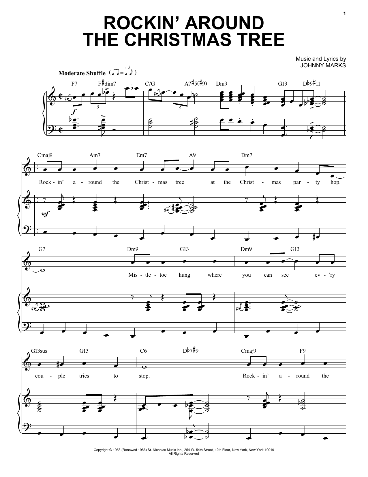 Johnny Marks Rockin' Around The Christmas Tree [Jazz Version] (arr. Brent Edstrom) sheet music notes printable PDF score