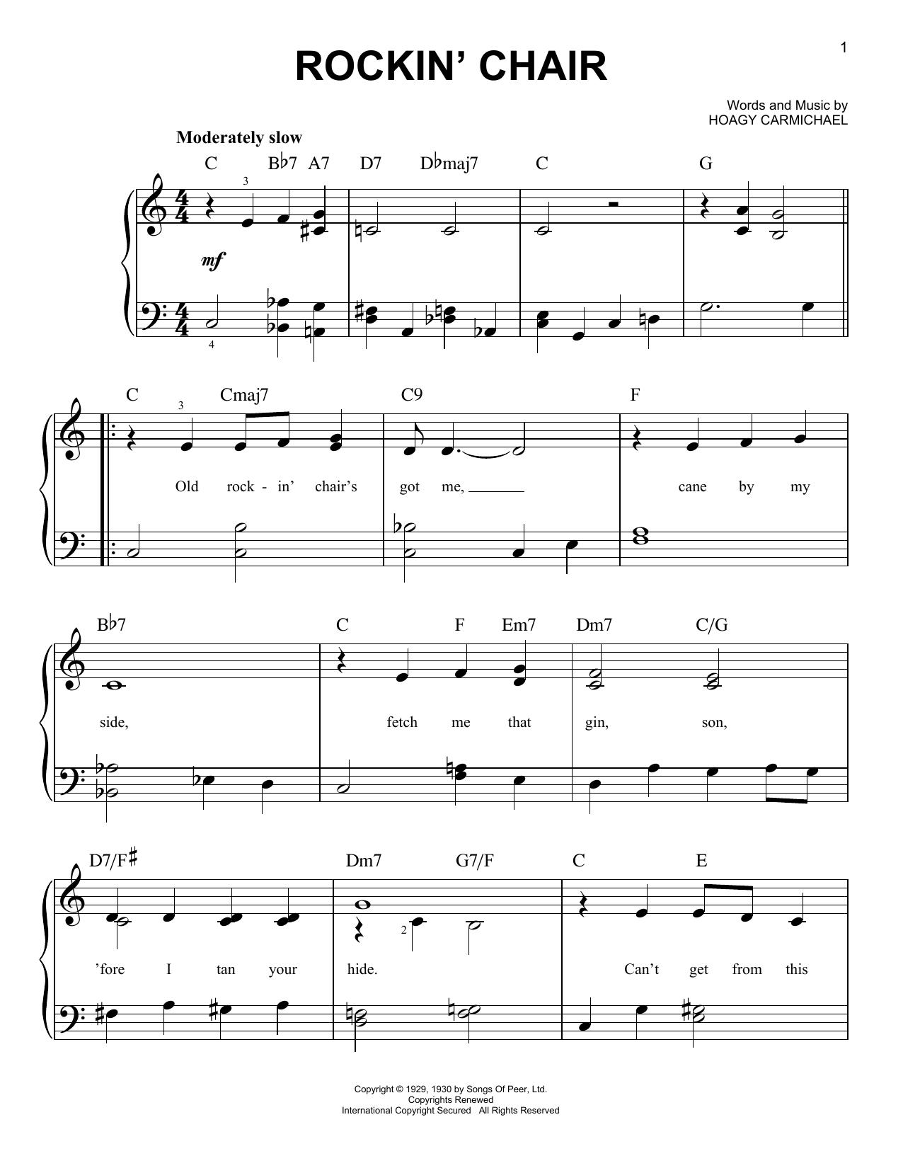 Hoagy Carmichael Rockin' Chair sheet music notes printable PDF score