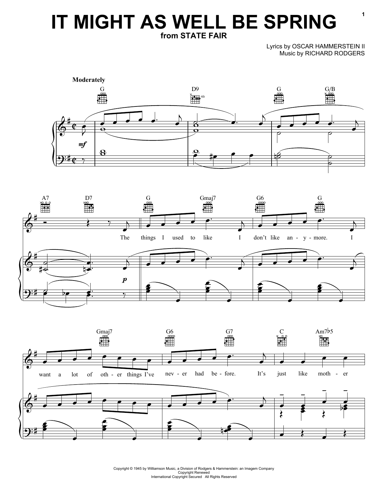 Rodgers & Hammerstein It Might As Well Be Spring sheet music notes and chords. Download Printable PDF.