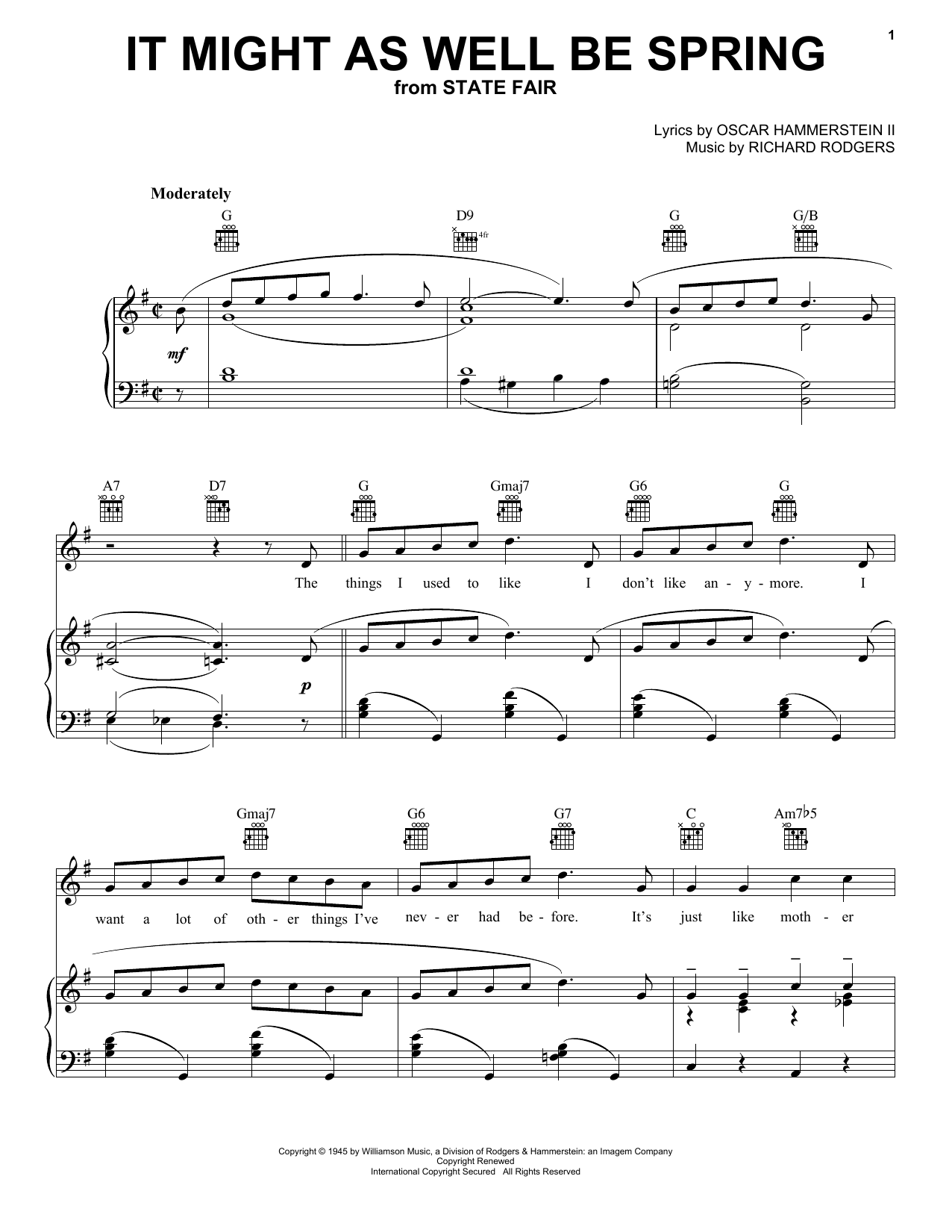 Rodgers & Hammerstein It Might As Well Be Spring sheet music notes printable PDF score