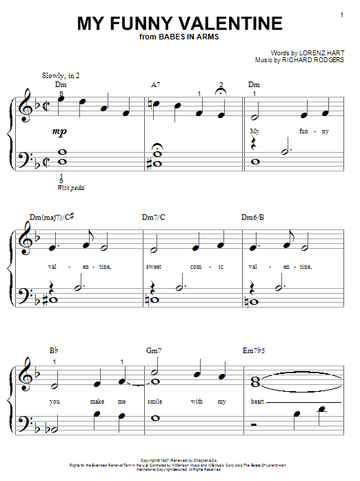 Rodgers & Hart My Funny Valentine sheet music notes and chords. Download Printable PDF.