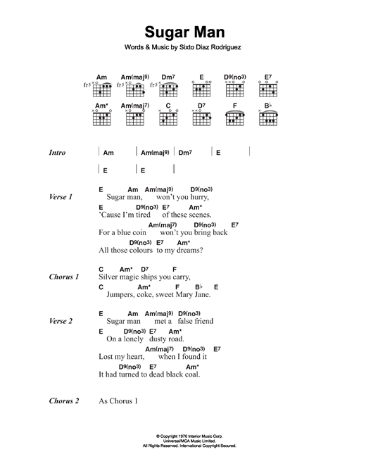 Rodriguez Sugar Man sheet music notes and chords. Download Printable PDF.