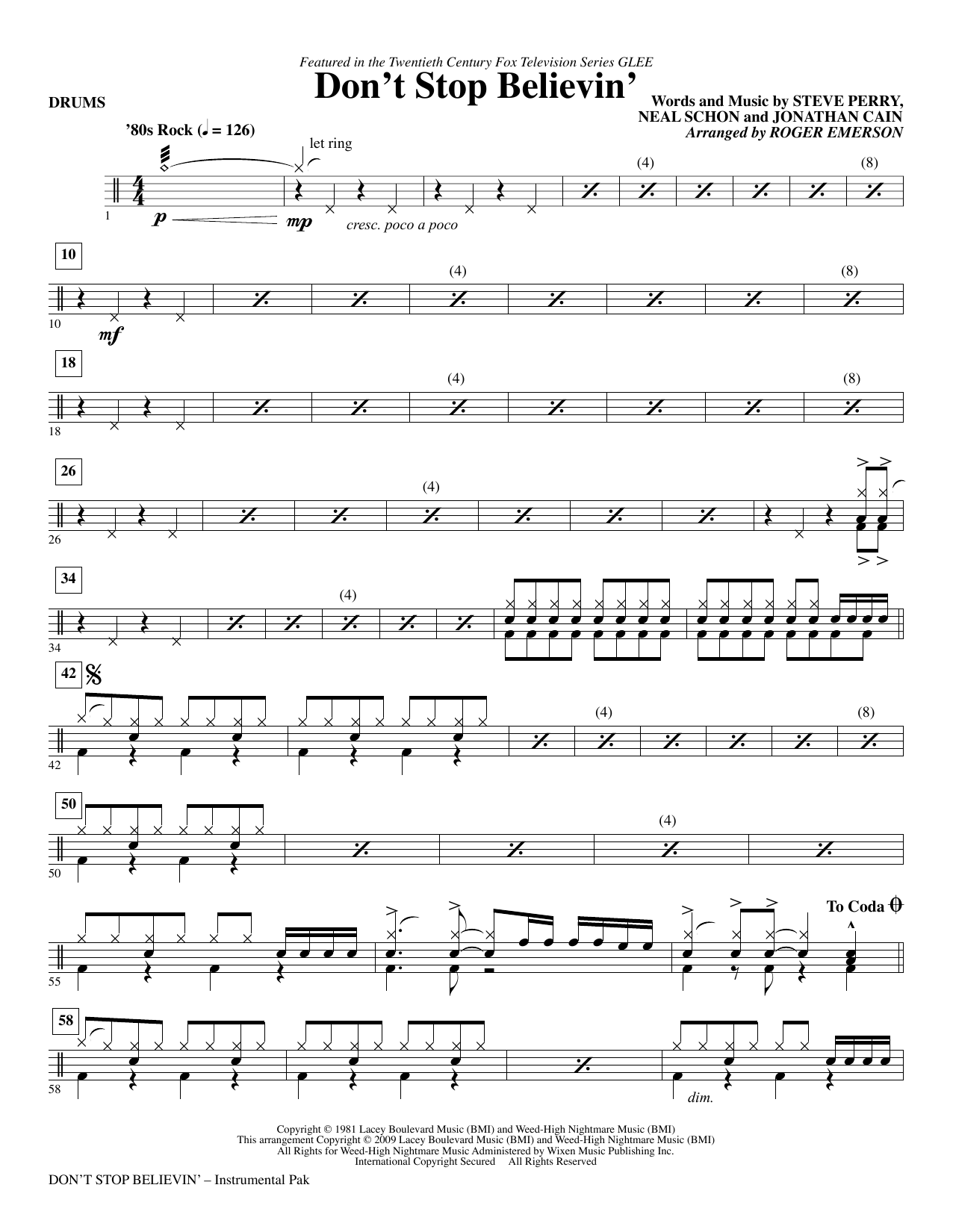 Roger Emerson Don't Stop Believin' - Drums sheet music notes and chords. Download Printable PDF.