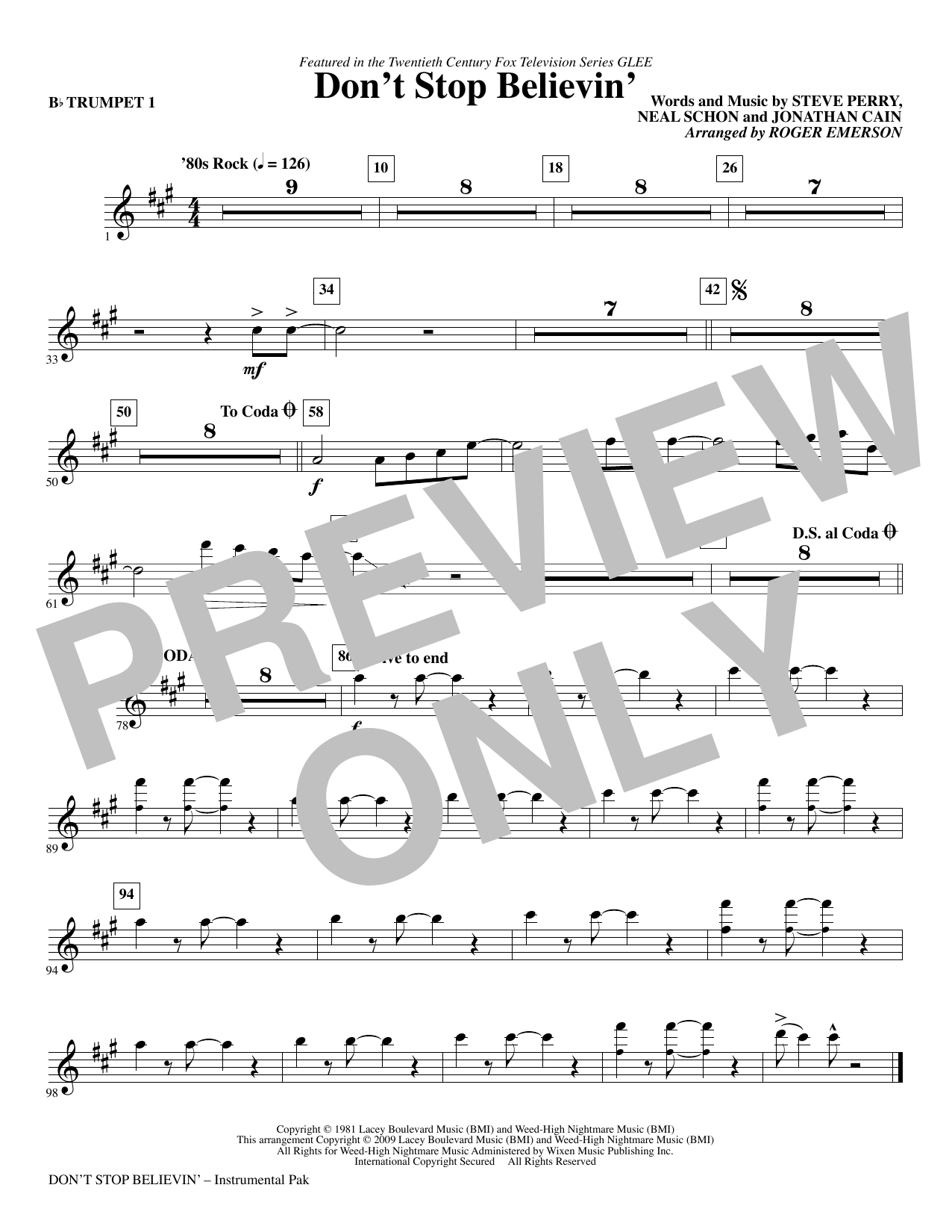 Roger Emerson Don't Stop Believin' - Trumpet 1 sheet music notes and chords. Download Printable PDF.