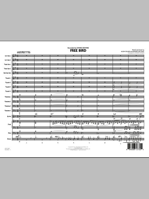 Roger Holmes Free Bird - Full Score sheet music notes printable PDF score