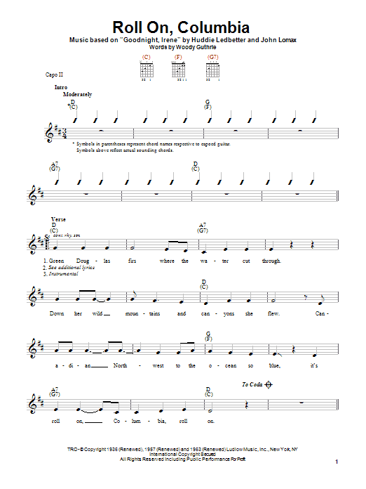 Woody Guthrie Roll On, Columbia sheet music notes printable PDF score