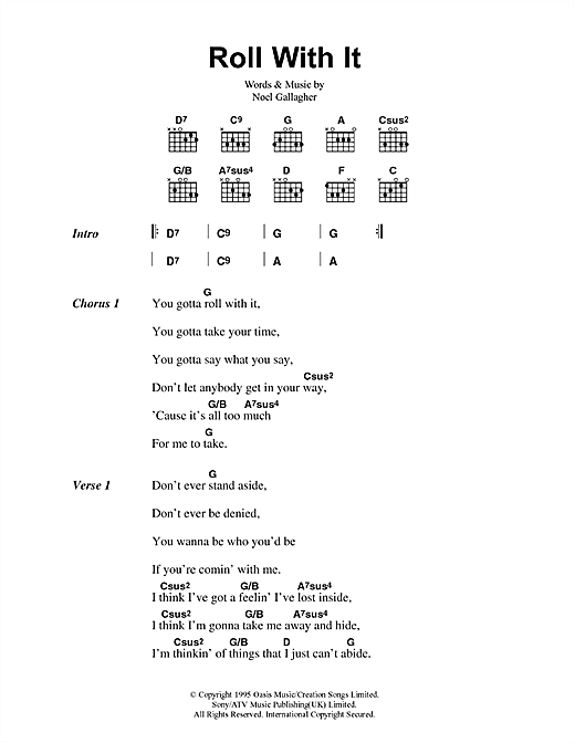 Oasis Roll With It sheet music notes printable PDF score