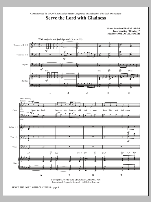 Rollo Dilworth Serve the Lord with Gladness - Full Score sheet music notes and chords. Download Printable PDF.