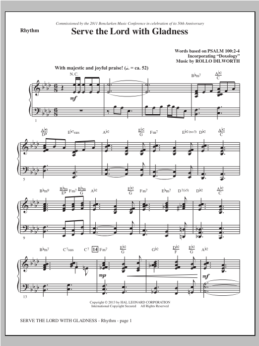 Rollo Dilworth Serve the Lord with Gladness - Rhythm sheet music notes and chords. Download Printable PDF.
