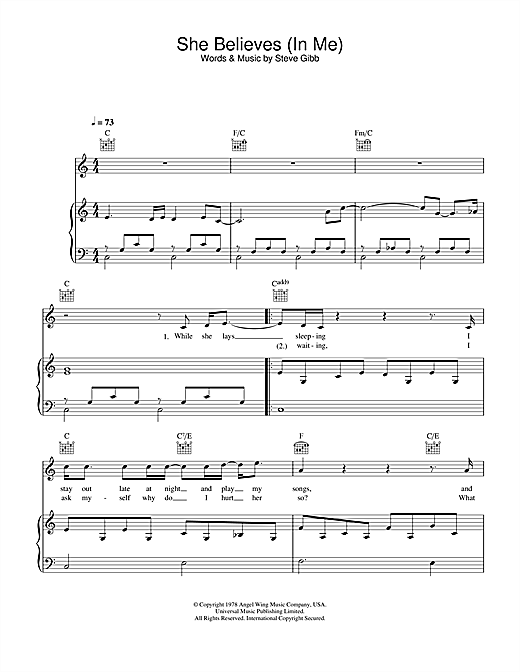 Ronan Keating She Believes In Me sheet music notes and chords. Download Printable PDF.